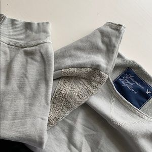 American Eagle Outfitters Sweaters - Gray sweatshirt with lace detail